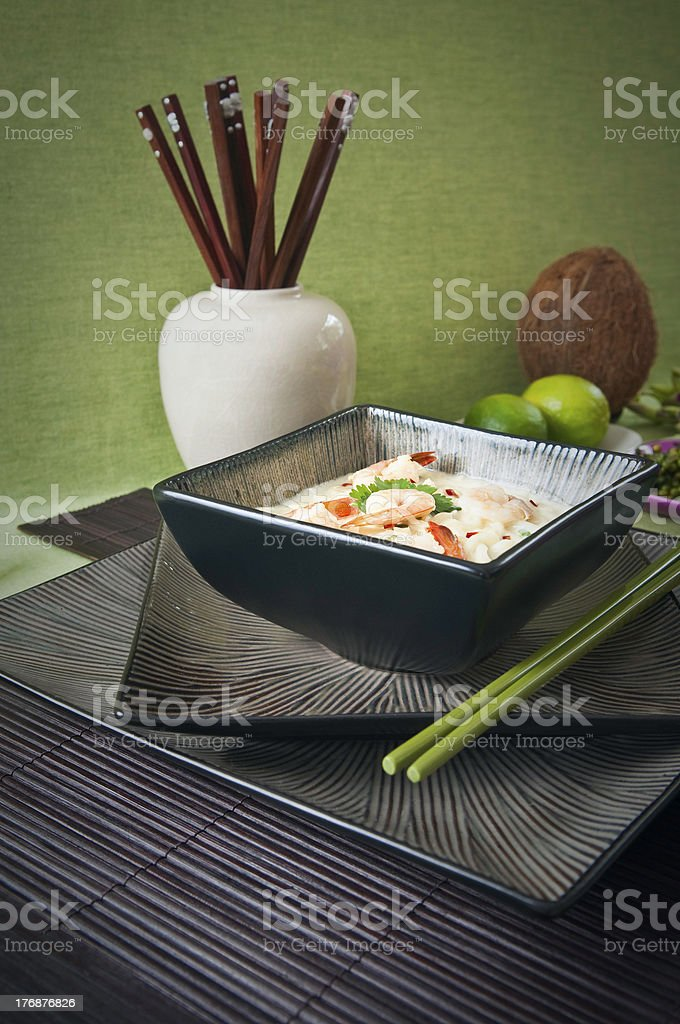 Malaysian laksa noodles and prawns in coconut milk. royalty-free stock photo