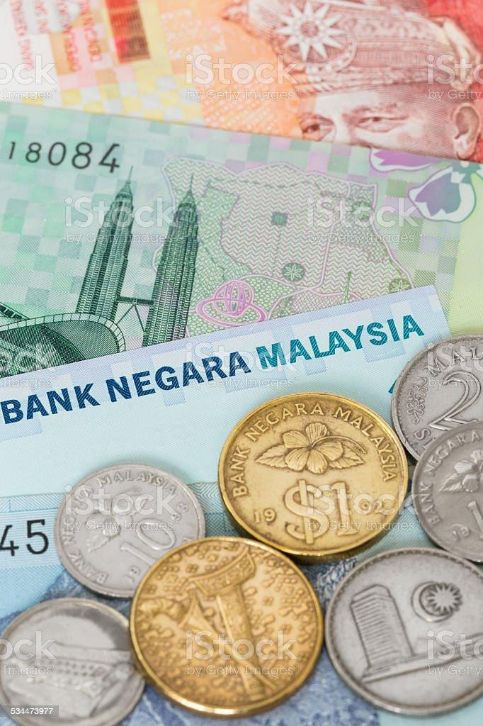 Malaysian money ringgit banknote and coins close-up stock photo