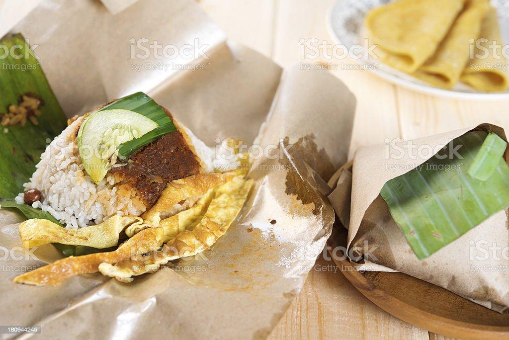 Malaysian rice nasi lemak. stock photo