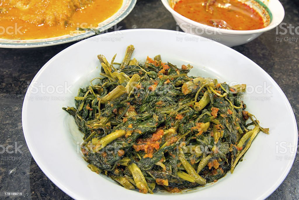 Malaysian Sambal Chili Kangkong stock photo