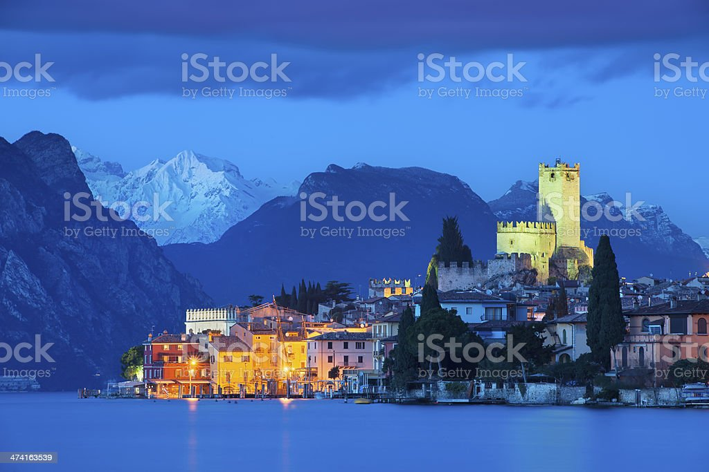 Malcesine at night stock photo