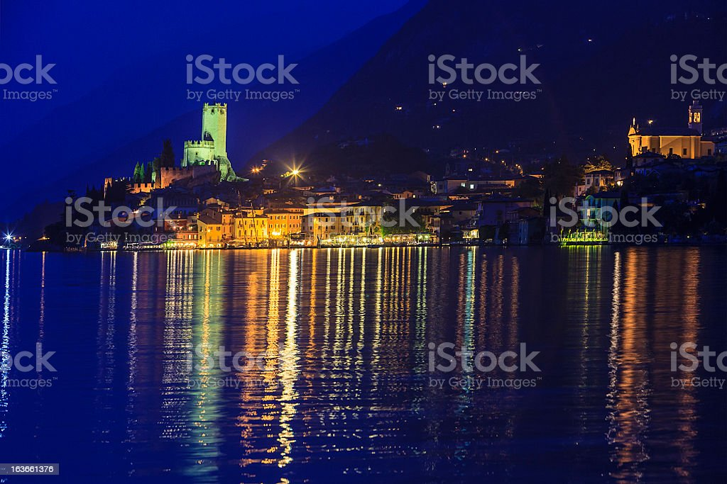 Malcesine By Night, Lake Garda stock photo