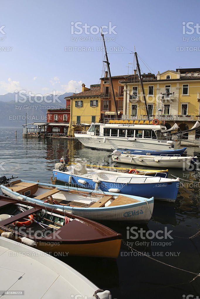 Malcesine Harbor stock photo