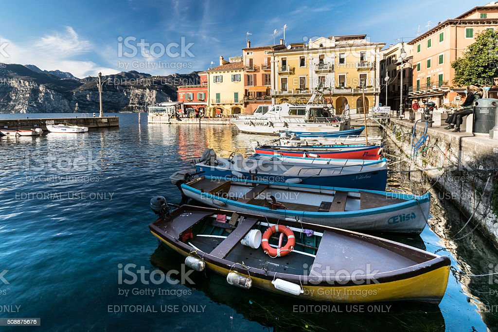 Malcesine is a small town on Lake Garda (Italy). stock photo