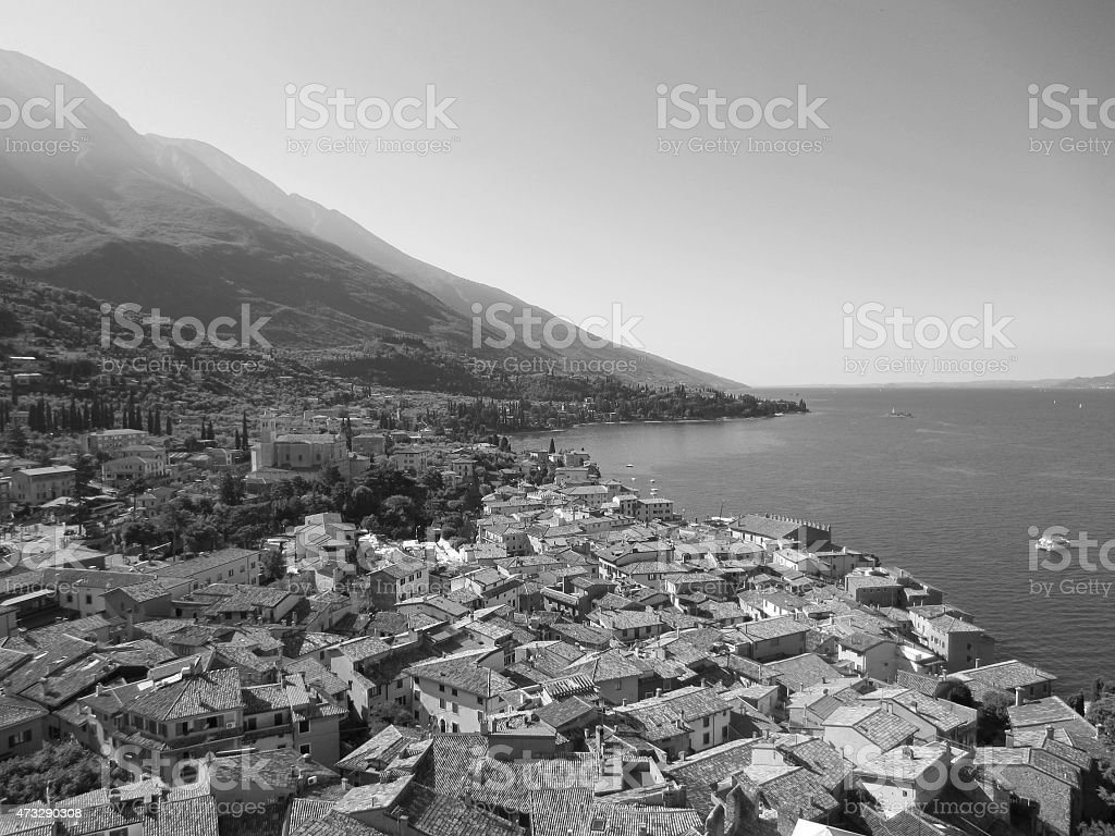 Malcesine on Lake Garda in italy stock photo