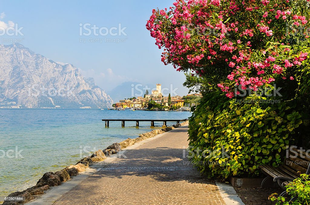 Malcesine on Lake Garda, Italy. stock photo
