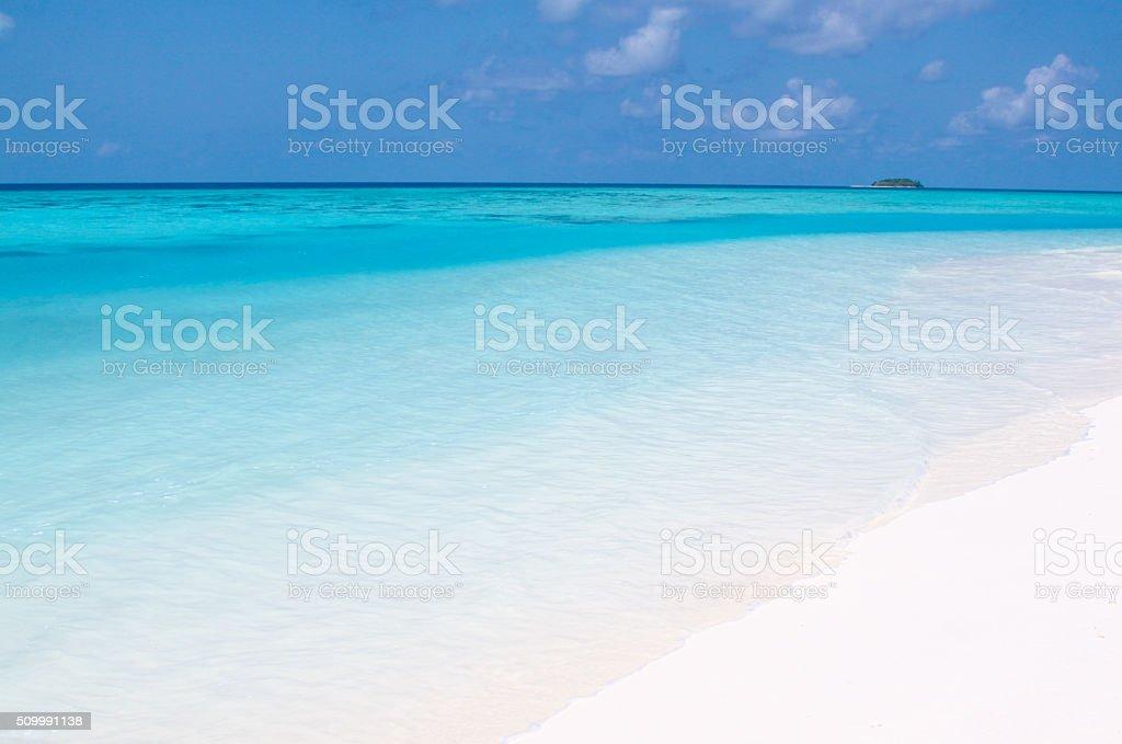 Maldives Beach and Lagoon stock photo