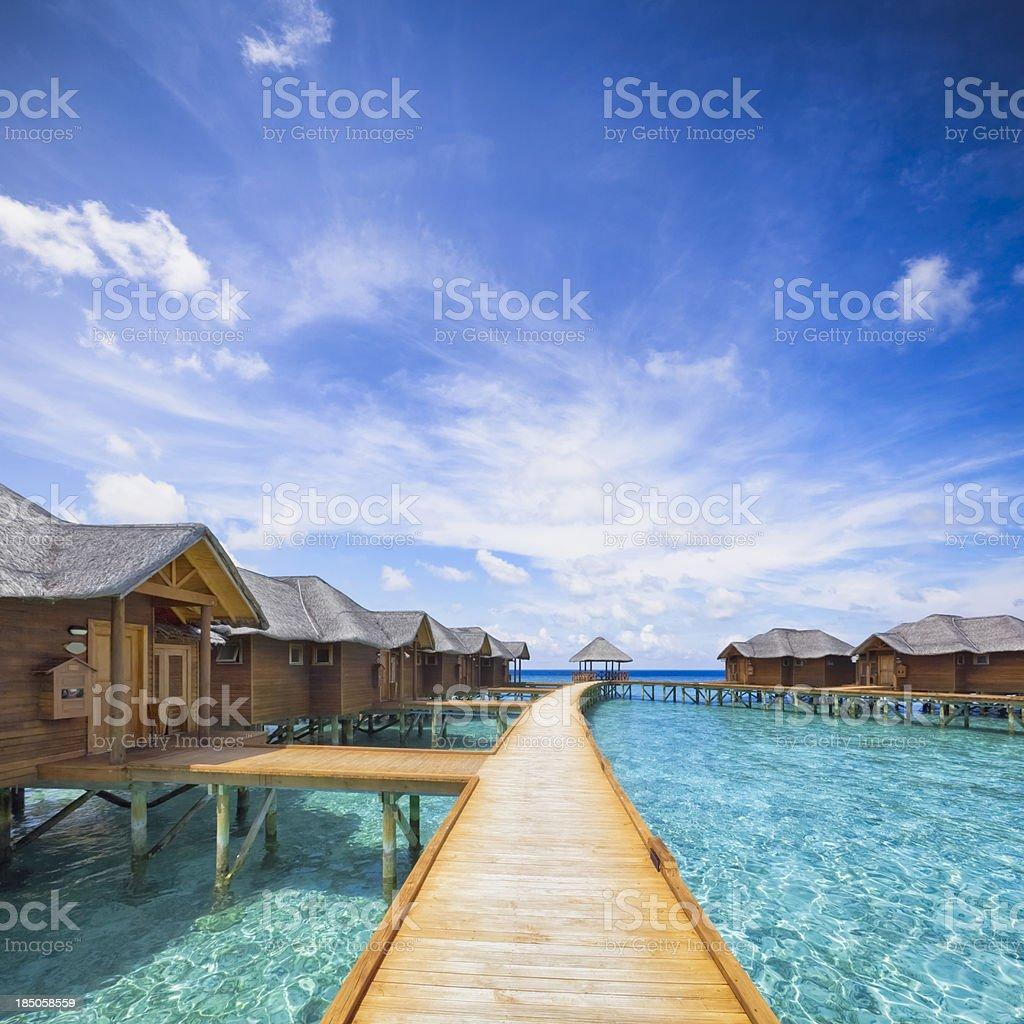 Maldives Boardwalk stock photo