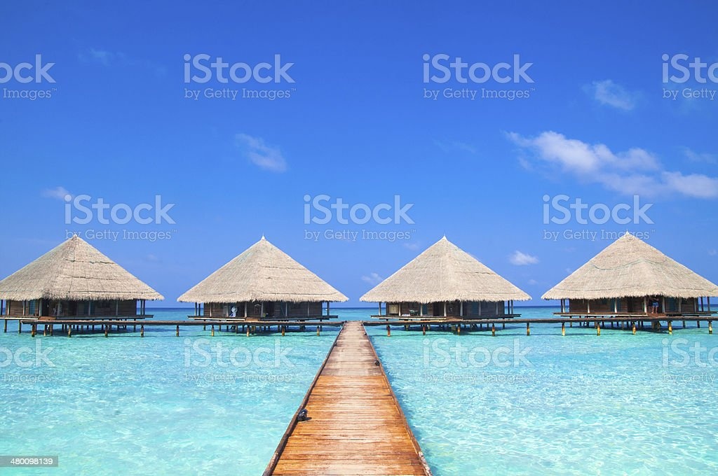 Maldives Dock with Wonderful Tropical Beach stock photo