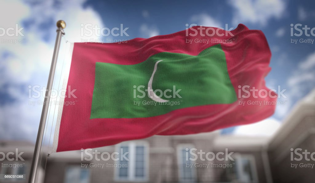 Maldives Flag 3D Rendering on Blue Sky Building Background stock photo