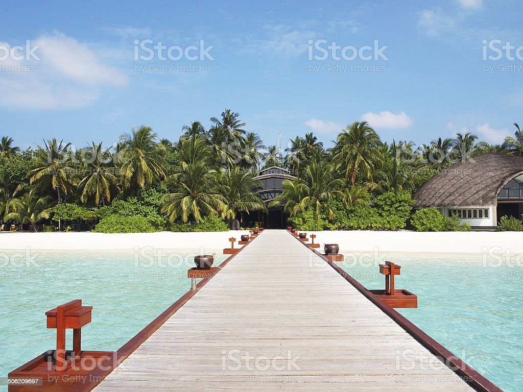 Maldives island jetty & bridge stock photo
