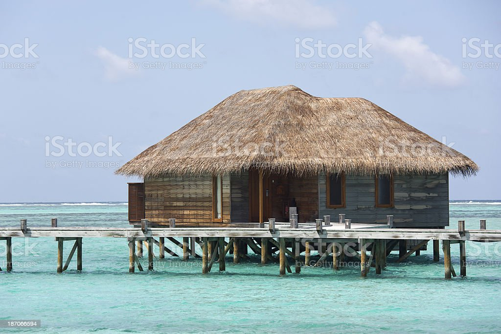 Maldives Islands Private Over Water Bungalow Luxury Resort royalty-free stock photo