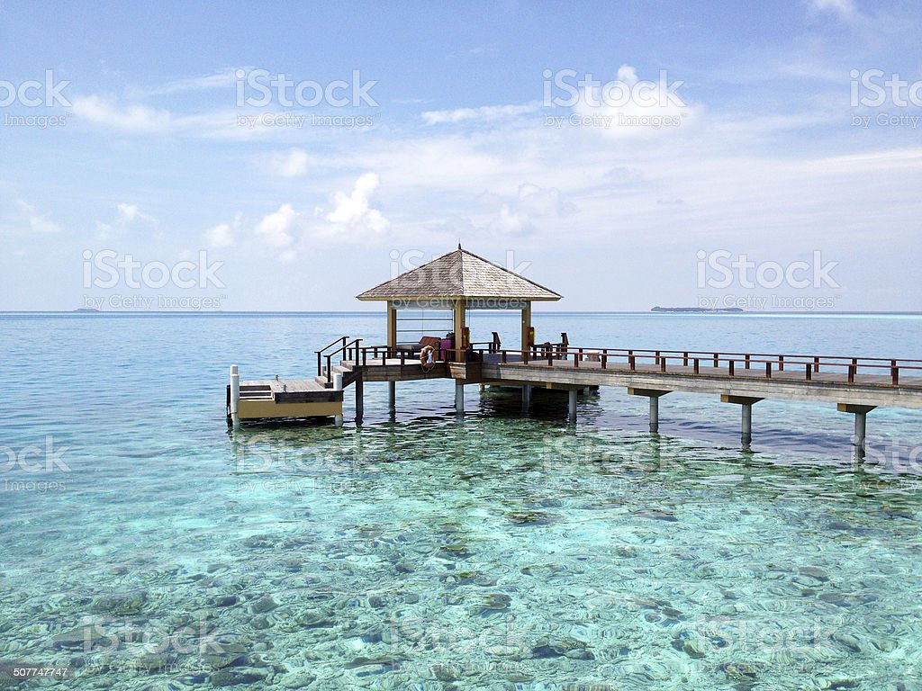 Maldives jetty & bridge stock photo