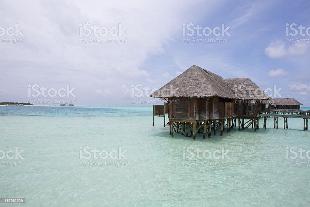 Maldives Resort Island Stilt House Exotic Travel Destination stock photo