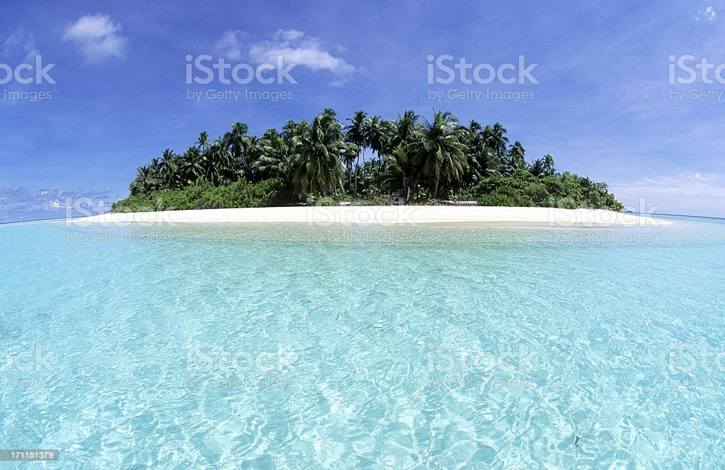 Maldives, southern atolls, Island. stock photo