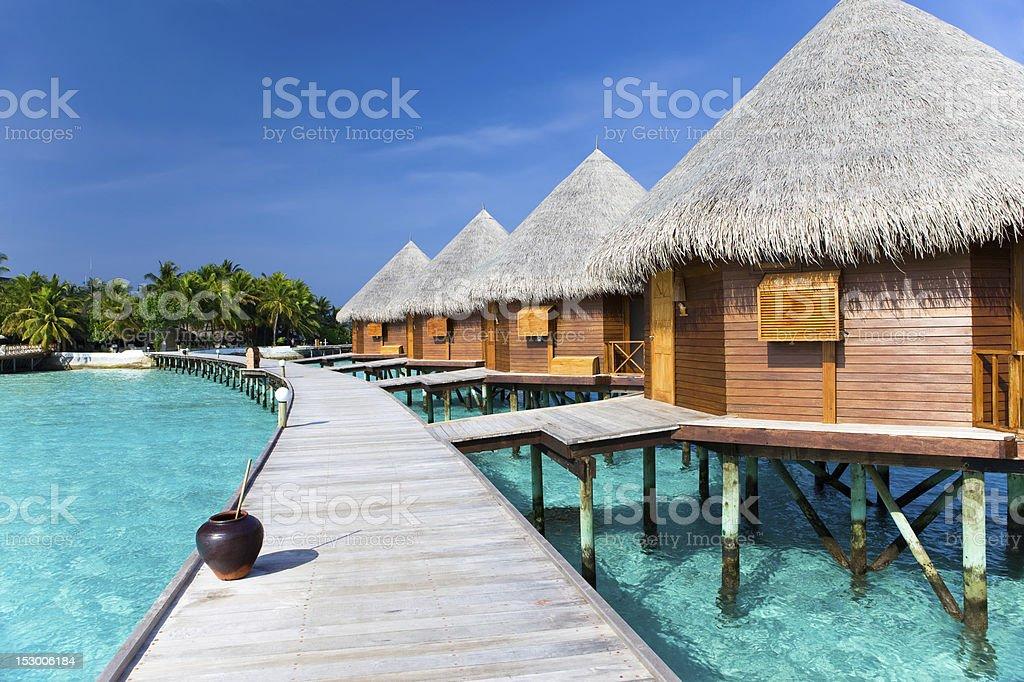Maldives. Villa piles on water stock photo