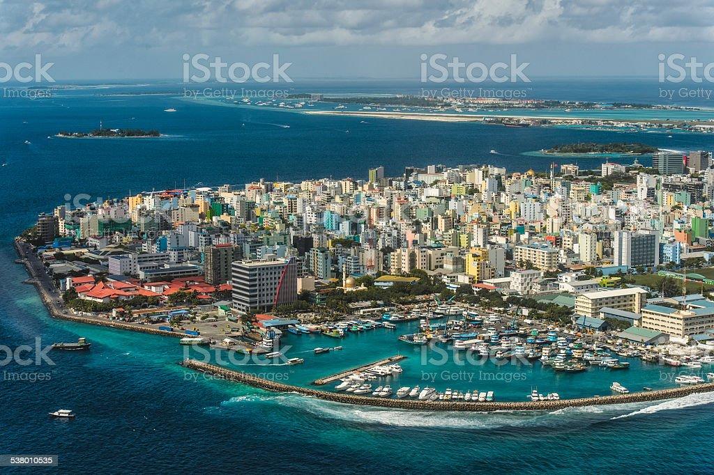 Maldivian capital from above stock photo