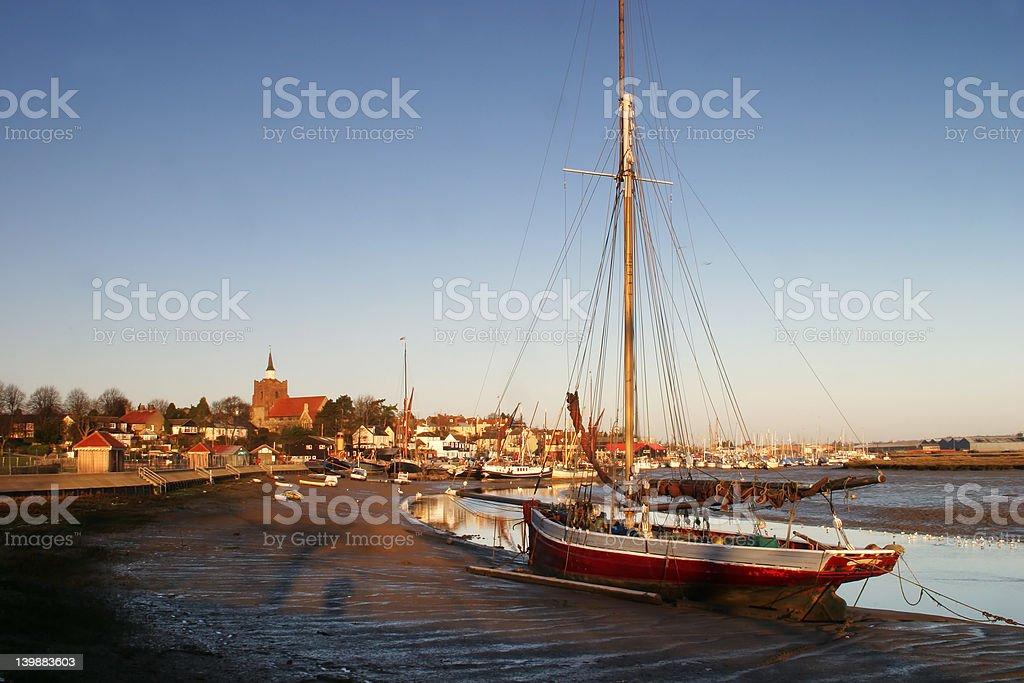 Maldon sail-boat at sunrise stock photo