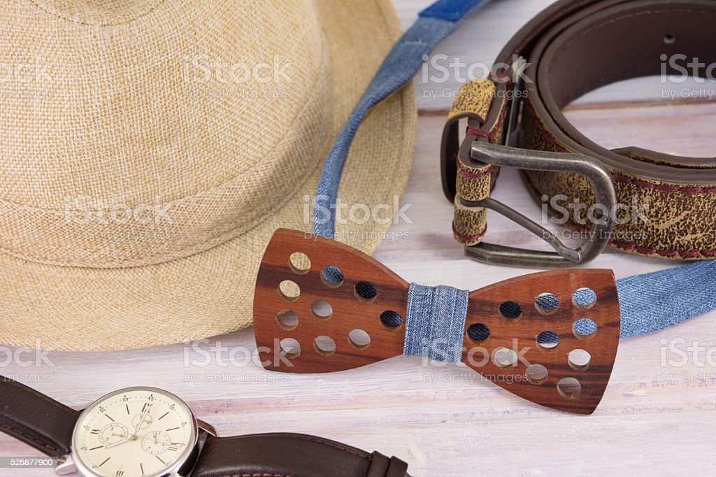 Male accessories possible combinations stock photo