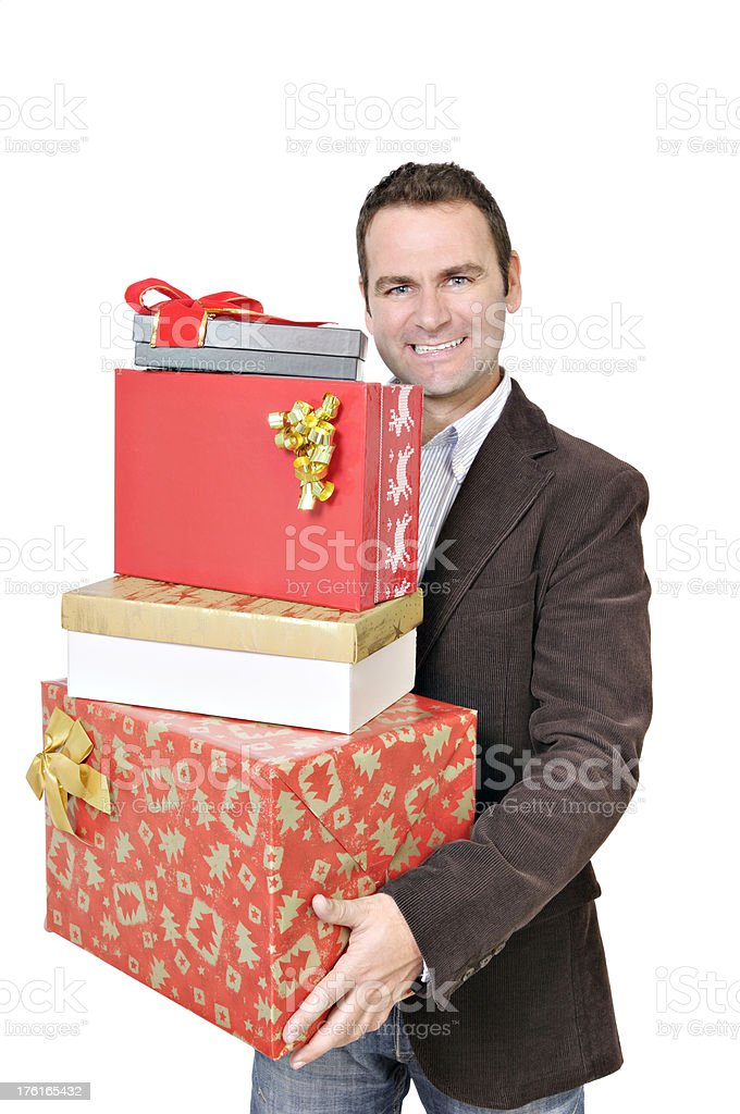 Male adult holding presents stock photo