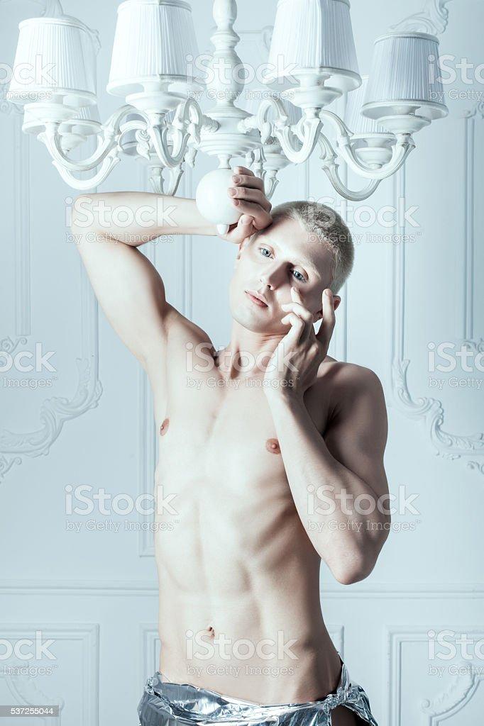 Male albino crying. stock photo