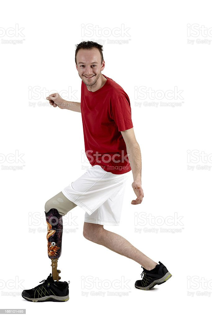 Male amputee showing the use of a prosthetic limb royalty-free stock photo