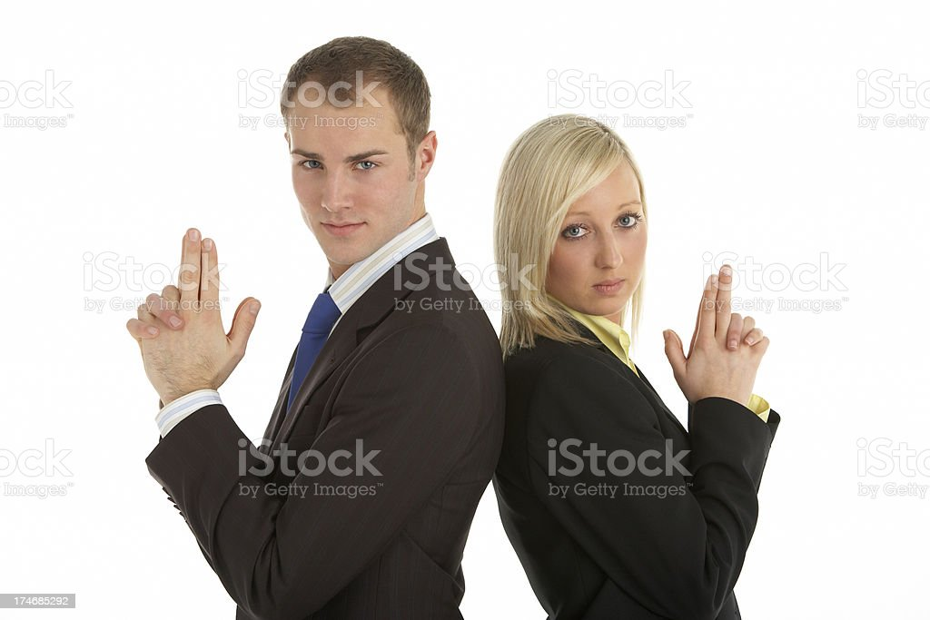 Male And Female Businesspeople Having Pretend Duel royalty-free stock photo