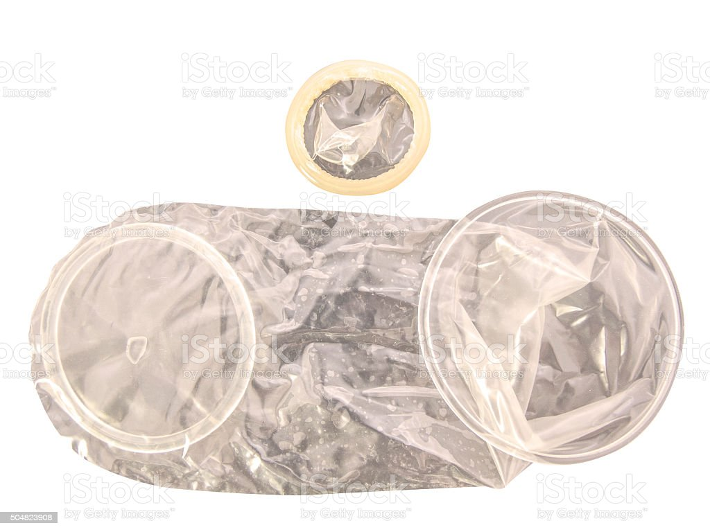 Male and female Condoms stock photo