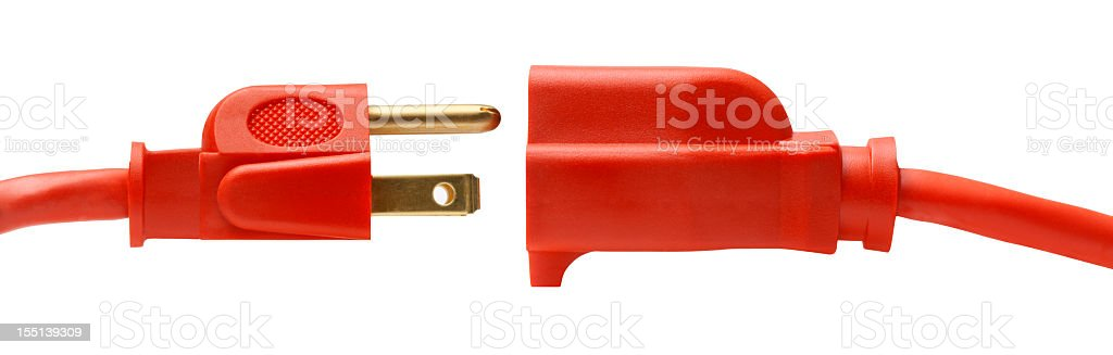 Male and female connectors on a heavy duty power cable stock photo