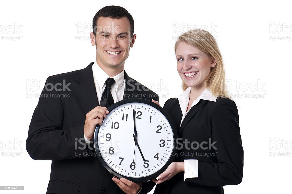 Male And Female Corporate Types With Clock royalty-free stock photo
