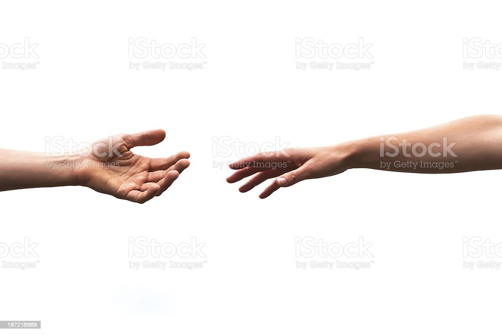 Male and female hand reaches out to help, white background royalty-free stock photo