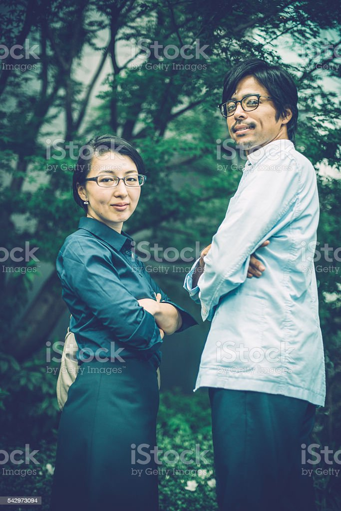 Male and Female Japanese Businesspeople Entrepreneurs in Kyoto, Japan stock photo