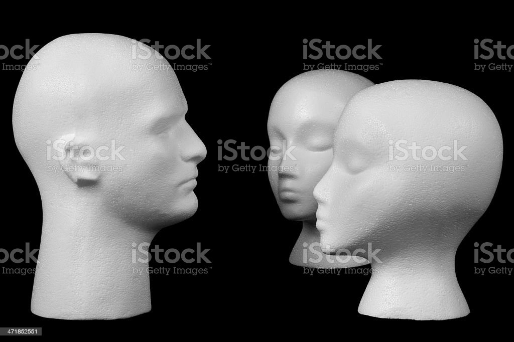 Male and female mannequin heads royalty-free stock photo