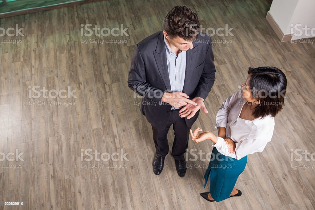 Male and Female Partners Negotiating in Hall stock photo