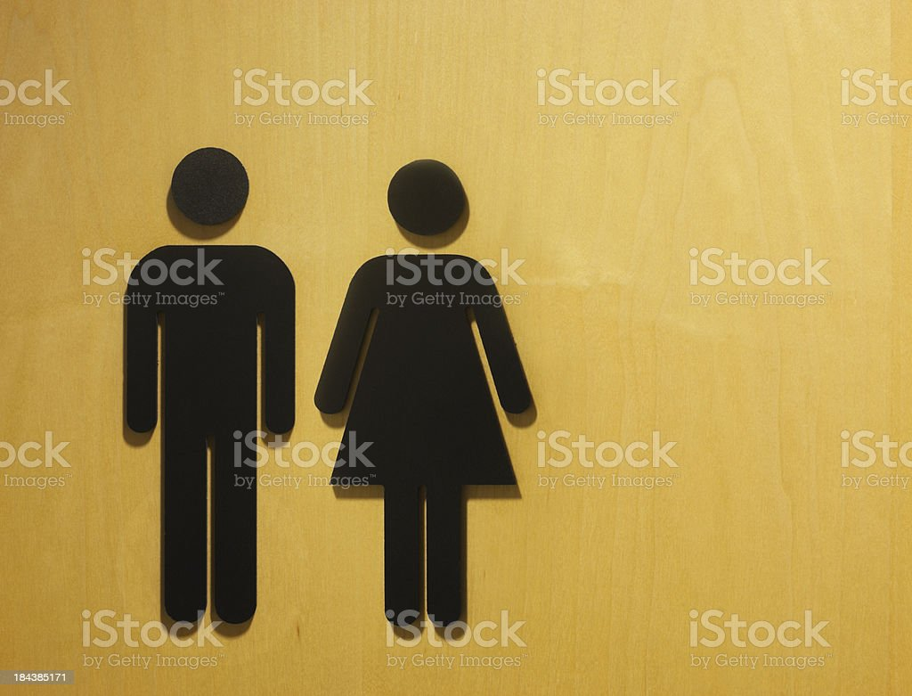 Male and female restroom symbol. stock photo