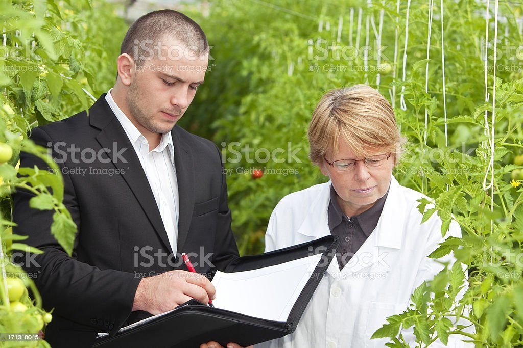 Male and Female Scientists in Greenhouse, Man Making Notes royalty-free stock photo