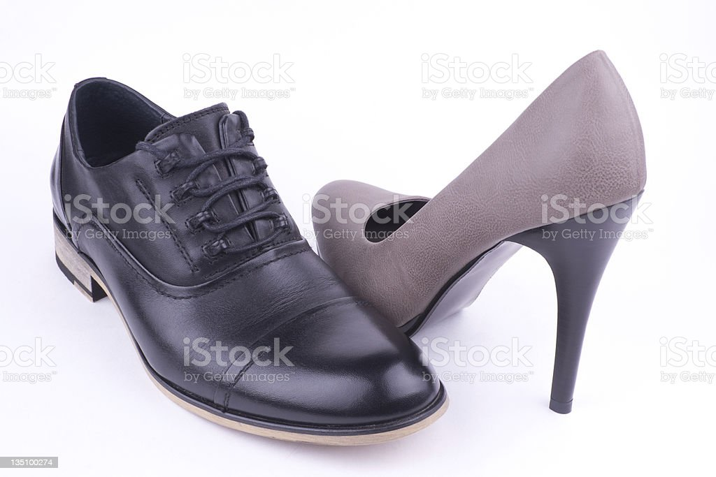 Male and female shoe royalty-free stock photo