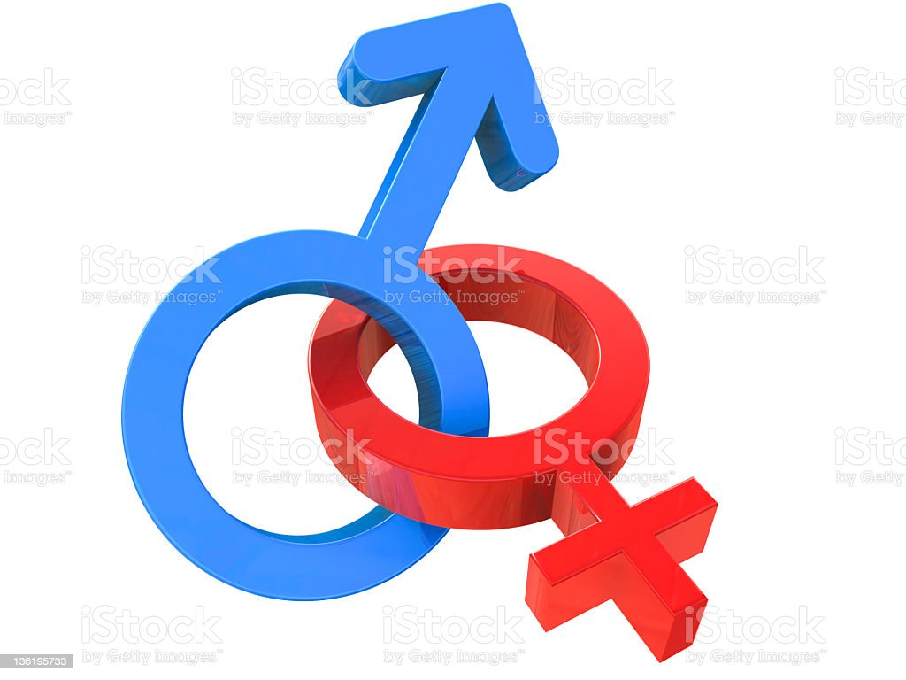Male and female sign entangled royalty-free stock photo