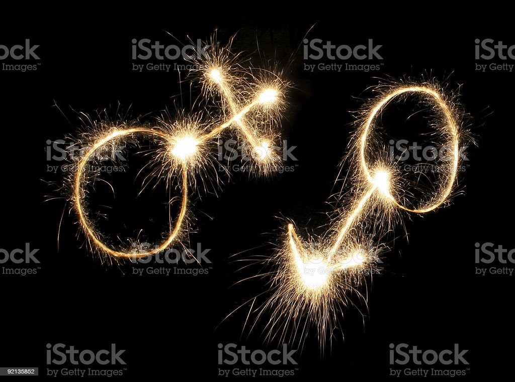 male and female symbols drawn sparkler royalty-free stock photo