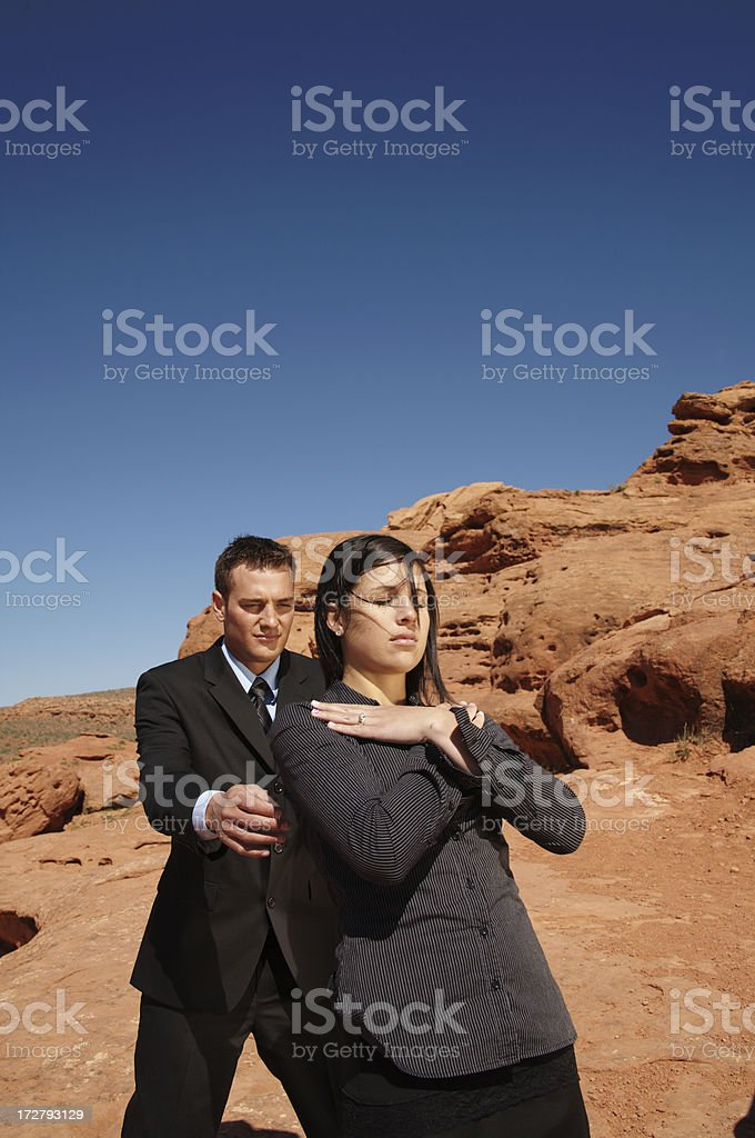 A male and female trust business concepts outdoors royalty-free stock photo