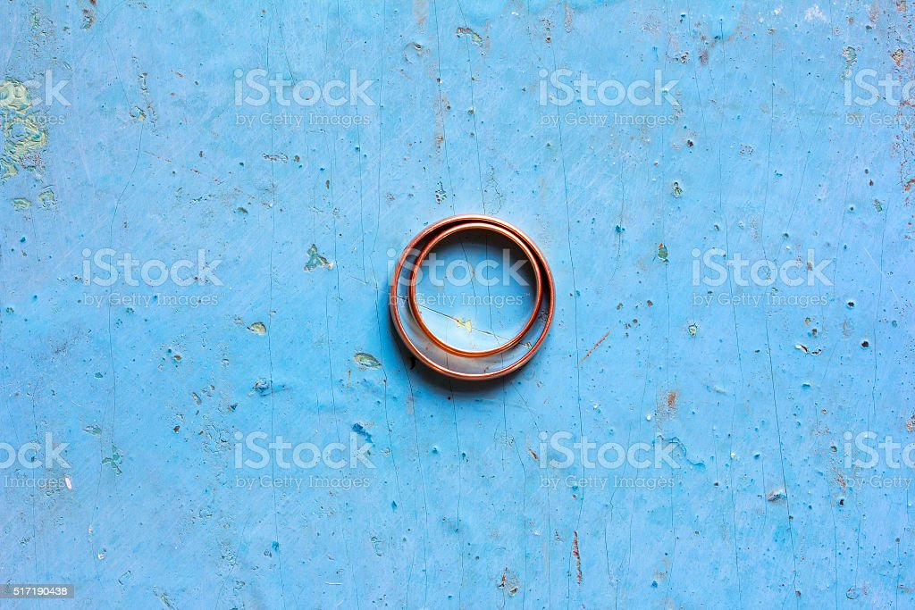 Male and female wedding rings stock photo