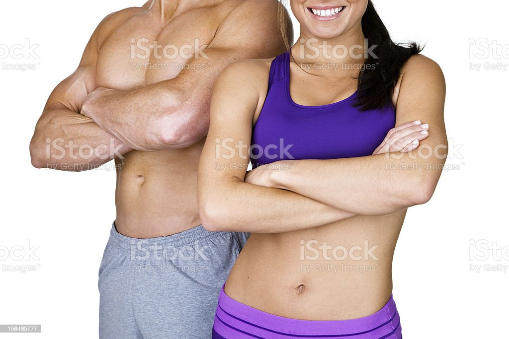 Male and female with perfect bodies stock photo