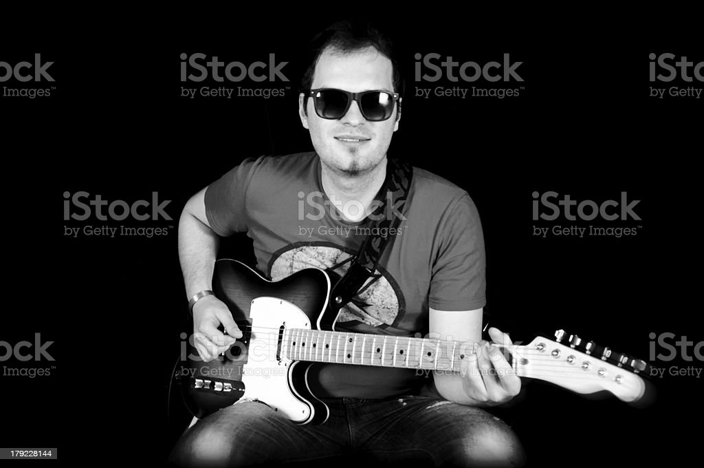 Male and guitar royalty-free stock photo
