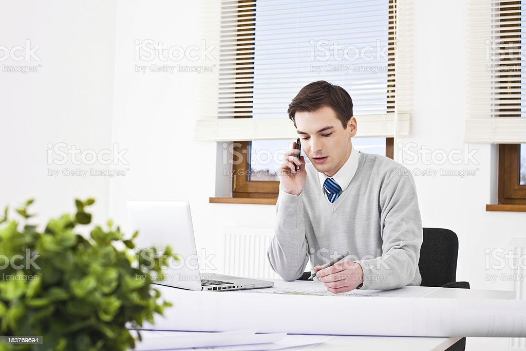 Male architect at work royalty-free stock photo
