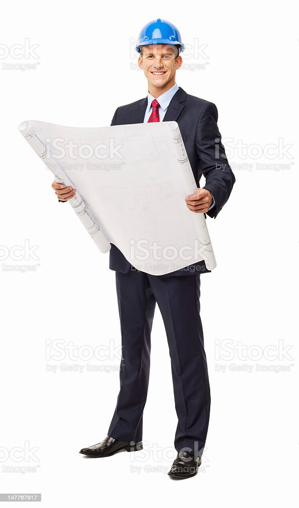 Male Architect Holding Unrolled Blueprint - Isolated royalty-free stock photo