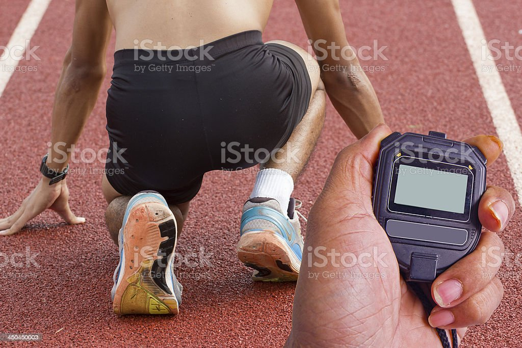 Male athlete all set before race starts. royalty-free stock photo