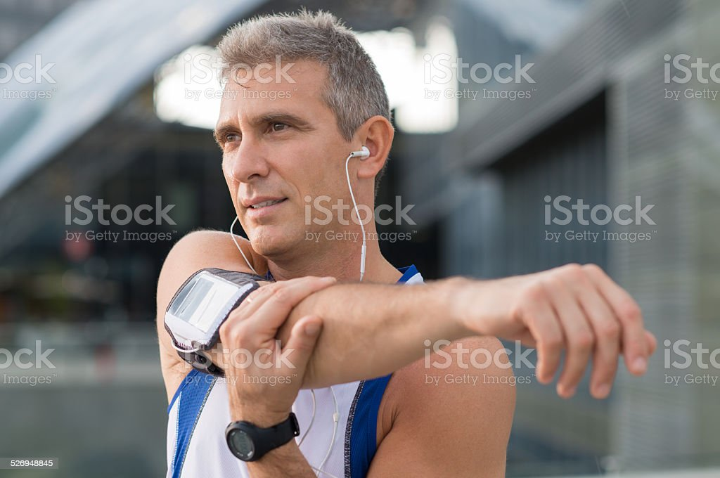 Male Athlete Exercising Outdoor stock photo
