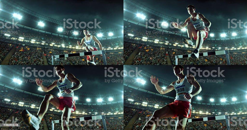 Male athlete hurdle on sports race stock photo