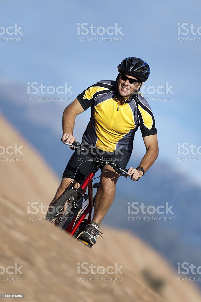 Male Athlete Mountain Biking In Canyonlands National Park royalty-free stock photo