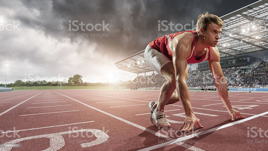 Male Athlete Ready to Run stock photo